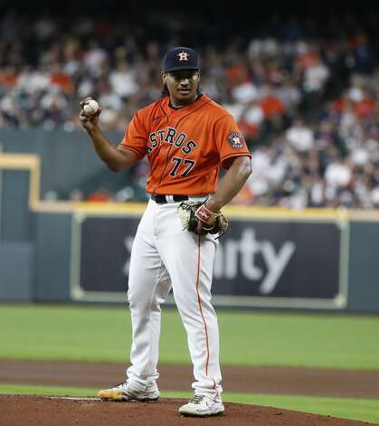 Houston Astros starting pitcher Luis Garcia (77) reacts after Chicago White Sox Jose Abreu's RBI single during the first inning of an MLB baseball game at Minute Maid Park, Friday, June 18, 2021. Photo: Karen Warren/Staff Photographer / @2021 Houston Chronicle