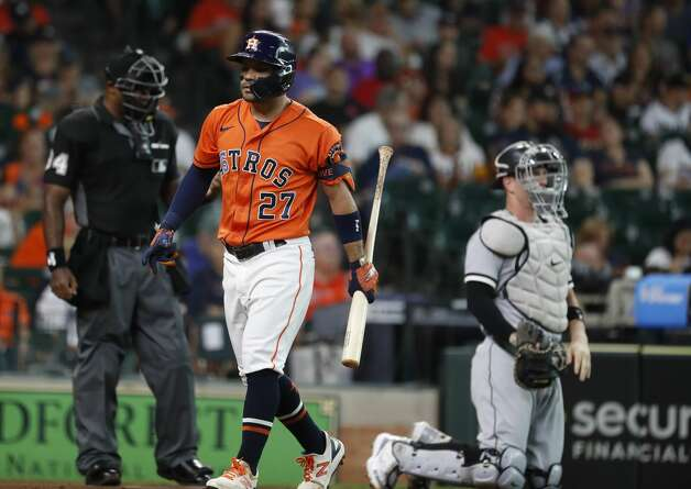 Houston Astros Jose Altuve (27) strikes out during the first inning of an MLB baseball game at Minute Maid Park, Friday, June 18, 2021. Photo: Karen Warren/Staff Photographer / @2021 Houston Chronicle