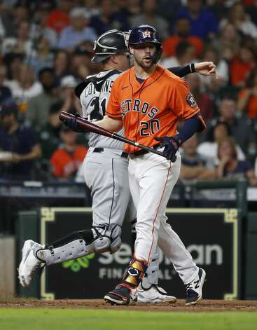 Houston Astros Chas McCormick (20) reacts after striking out against Chicago White Sox starting pitcher Carlos Rodon (55) during the fourth inning of an MLB baseball game at Minute Maid Park, Friday, June 18, 2021. Photo: Karen Warren/Staff Photographer / @2021 Houston Chronicle