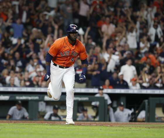 Houston Astros designated hitter Yordan Alvarez (44) runs to second base after hitting an RBI double scoring Yuli Gurriel to beat the Chicago White Sox 2-1 during the ninth inning of an MLB baseball game at Minute Maid Park, Friday, June 18, 2021. Photo: Karen Warren/Staff Photographer / @2021 Houston Chronicle