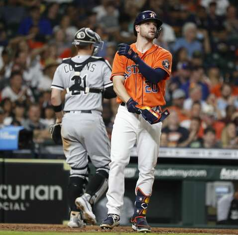 Houston Astros Chas McCormick (20) strikes out during the eighth inning of an MLB baseball game at Minute Maid Park, Friday, June 18, 2021. Photo: Karen Warren/Staff Photographer / @2021 Houston Chronicle