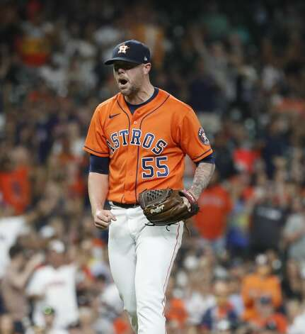Houston Astros relief pitcher Ryan Pressly (55) reacts after striking out Chicago White Sox Danny Mendick (20) during the ninth inning of an MLB baseball game at Minute Maid Park, Friday, June 18, 2021. Photo: Karen Warren/Staff Photographer / @2021 Houston Chronicle