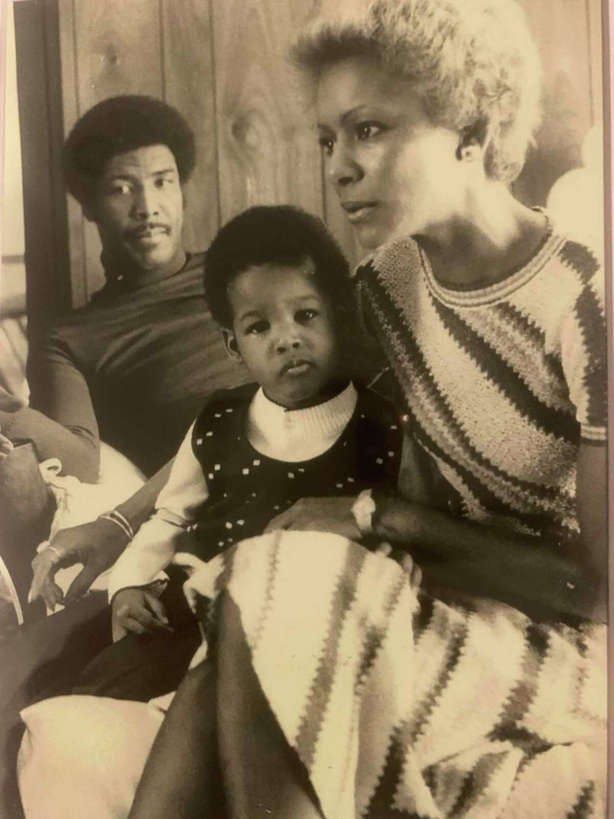 With his father Paul Silas in the background, Stephen Silas is with his mom Carolyn in the mid-1970s when the family was in Boston.