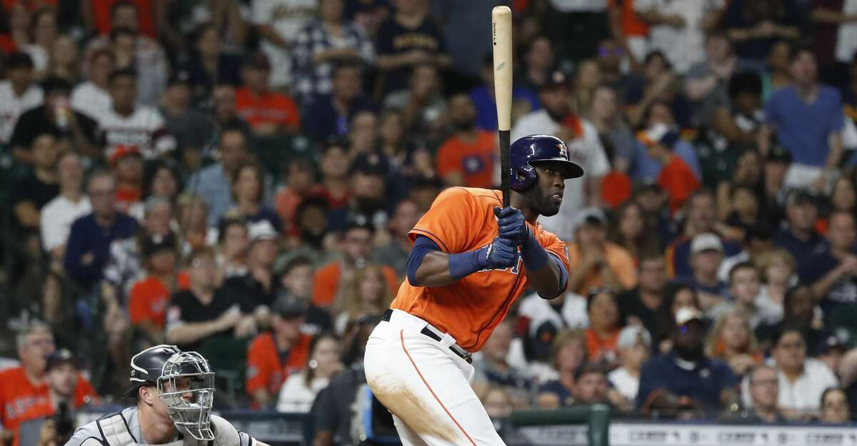 Houston Astros designated hitter Yordan Alvarez (44) hits an RBI double scoring Yuli Gurriel to beat the Chicago White Sox 2-1 during the ninth inning of an MLB baseball game at Minute Maid Park, Friday, June 18, 2021.