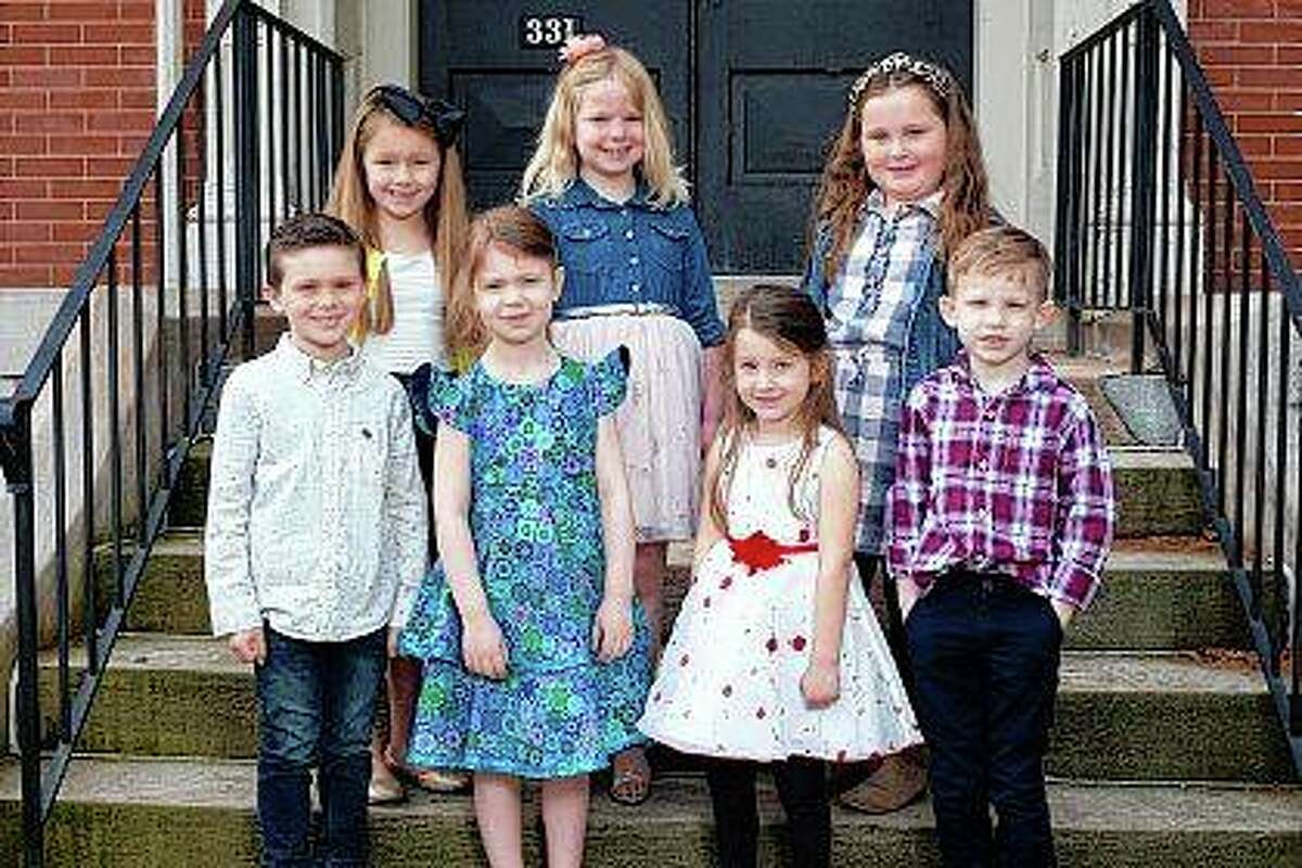 Flower girls and pages - kindergarten-age boys and girls - participating in the 2021 Beaux Arts Ball include Landon David Hackett (front row, from left), Menai Fay Elaine Evans, Jillian Noel Dunseth, Max Fanning Nelson, Ava Bergschneider (back row, from left), Estelle Marie Van Aken and Ruthie Elaine Schumacher. Participants not pictured include: Ty Allen Bumgarner, Hylan DeGroot, Avi Roscoe Dunseth, Axel Henderson Eckhouse, Henry William Garver, Charles Benton Guidish and Otto Spradlin Zang.red: