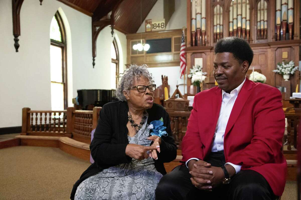 Opal Lee and Sam Collins at Reedy Chapel African Methodist Episcopal Church on May 30, 2021.