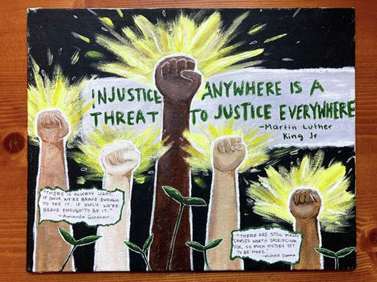 Greenwich High School 10th-grader Sarah Tocci won third place in the art division of the 2021 Alma Rutgers Defining Diversity Contest for this entry