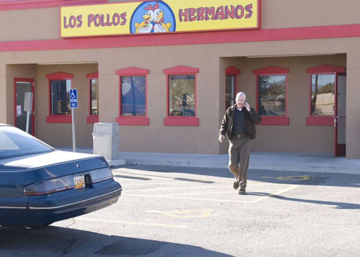 """Los Pollos Hermanos Money laundering and drug deals were on the menu at Los Pollos Hermanos, the fried chicken joint owned by drug lord Gustavo Fring where he met teacher turned meth-maker Walter White on """"Breaking Bad."""" Did you know that the actual location in New Mexico was a burrito joint called Twisters?"""