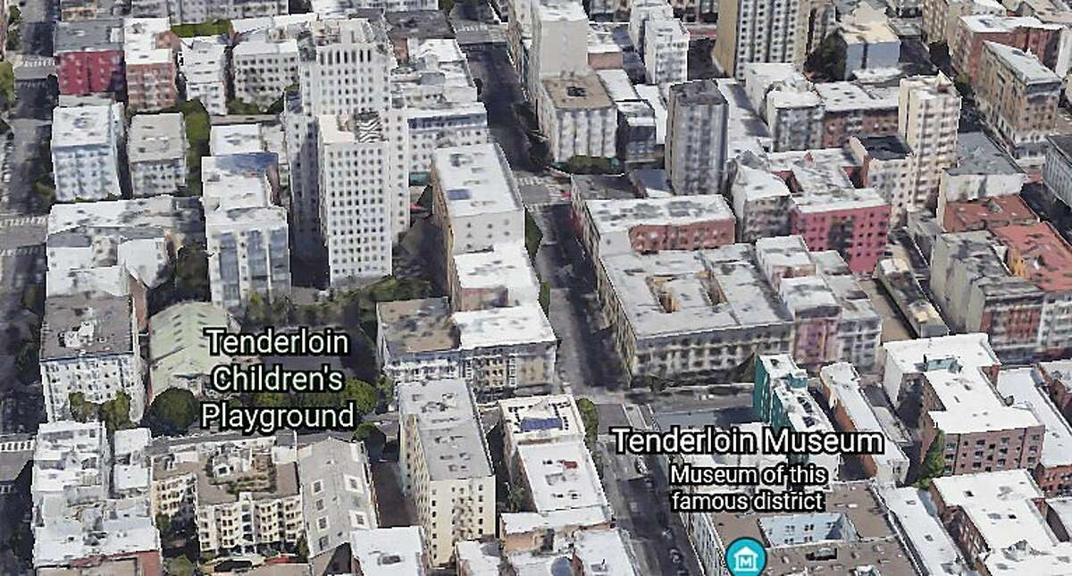 A Google Earth images shows the area of San Francisco where firefighters battled an apartment fire on June 19, 2021.