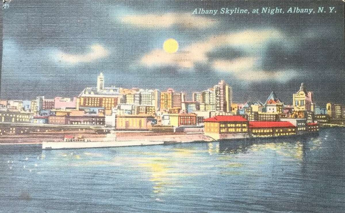 This is a linen postcard my grandmother mailed to her sister, postmarked 1956. I realize the skyline has changed, but why was there a submarine parked here?