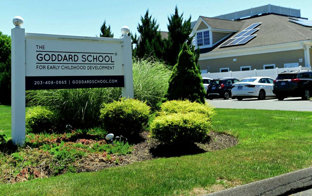 Goddard School of Wilton Thursdaty, June 17, 2021, in Wilton, Conn. Goddard School of Wilton teacher, Amy Tingets, was arrested for first-degree assault and risk of injury to a child, following an incident in which an infant suffered serious head trauma at the school in February.