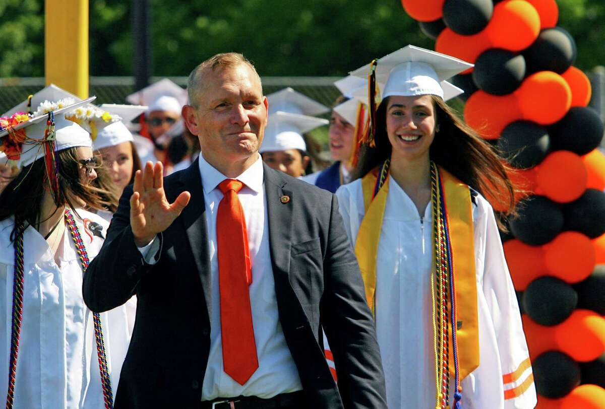 Principal Raymond Manka at Stamford High School's 156th Graduation ceremony at M.A. Boyle Stadium in Stamford, Conn., on Friday June 11, 2021. Manka has accepted a position as principal in New Milford.