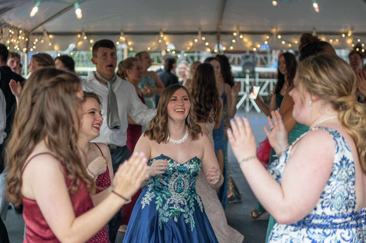 Midland High School students dance during a privately funded senior prom Friday, June 18, 2021 at the Midland Center for the Arts. (Adam Ferman/for the Daily News)