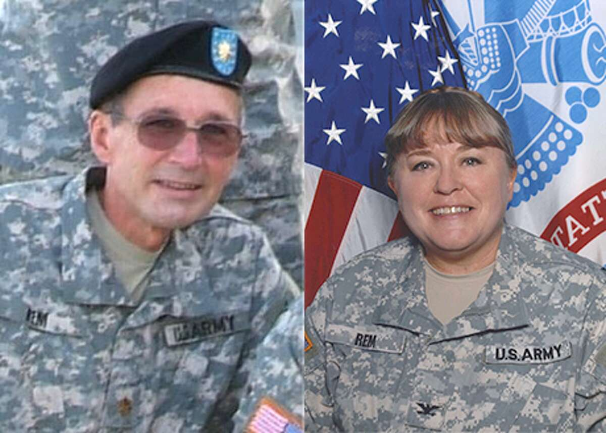 Army Maj. Christopher Rem and his wife, Col. Christine Rem are on duty before retirement.