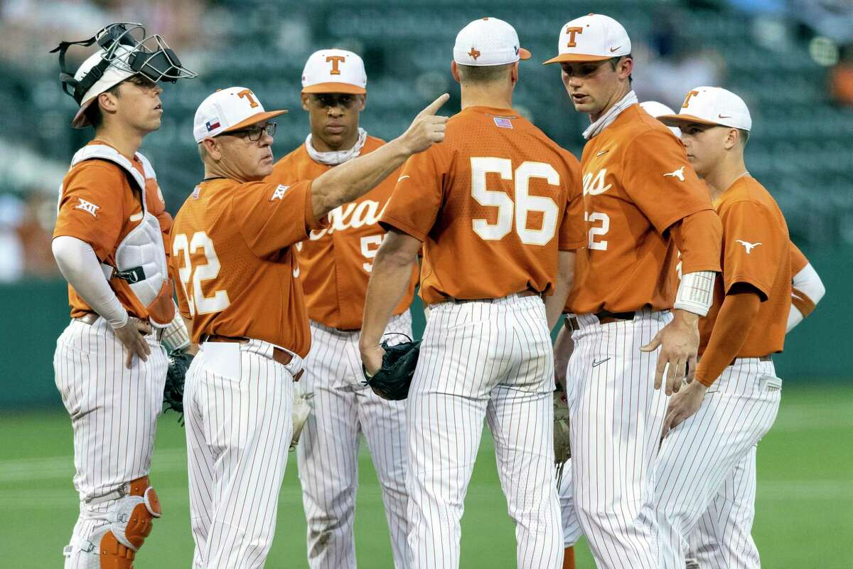 David Pierce (22) has the Longhorns at the College World Series for the second time since 2018.