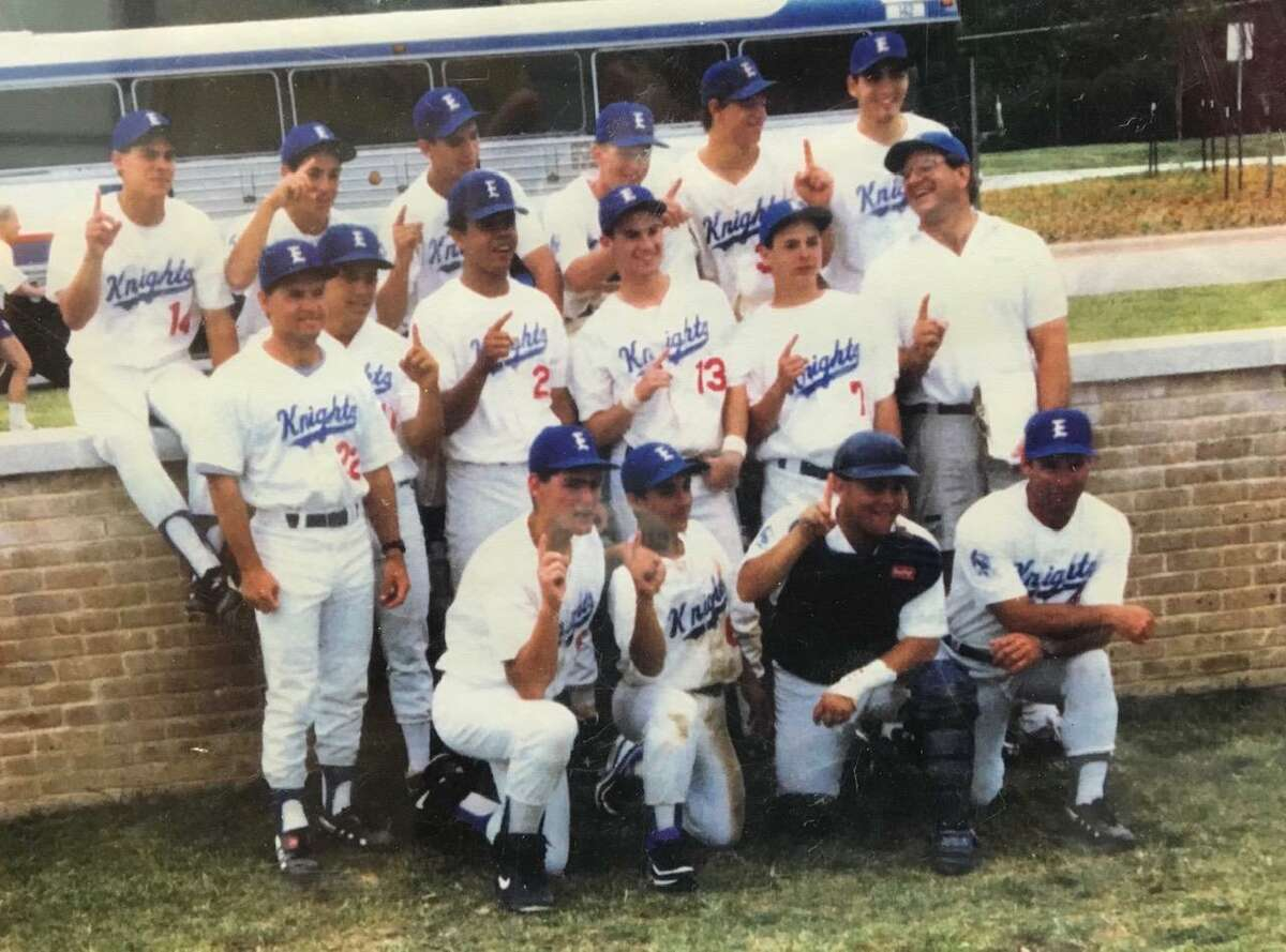 Long before David Pierce was leading the University of Texas to the College World Series, he was an assistant coach at Episcopal High and a Stan Musial summer league coach. Here Pierce, middle far left, celebrates the 1992 Southwest Preparatory Conference title with the Episcopal Knights.
