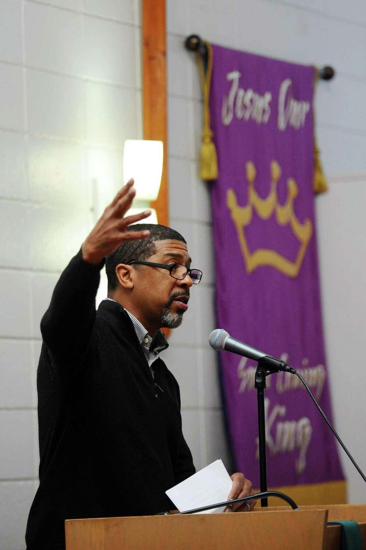 Al Thomas speaks inside Bethel AME Church on Monday, Jan. 16, 2017.