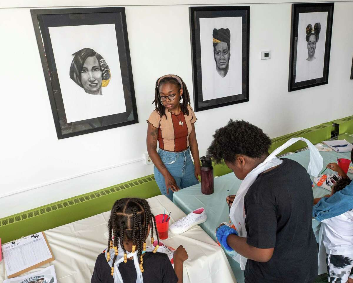 Sion Hardy oversees the painting program at the African American Cultural Center of the Capital Region in Albany, NY, during the Juneteenth celebration commemorating the end of slavery in the U.S. on Saturday, June 19, 2021 (Jim Franco/Special to the Times Union)