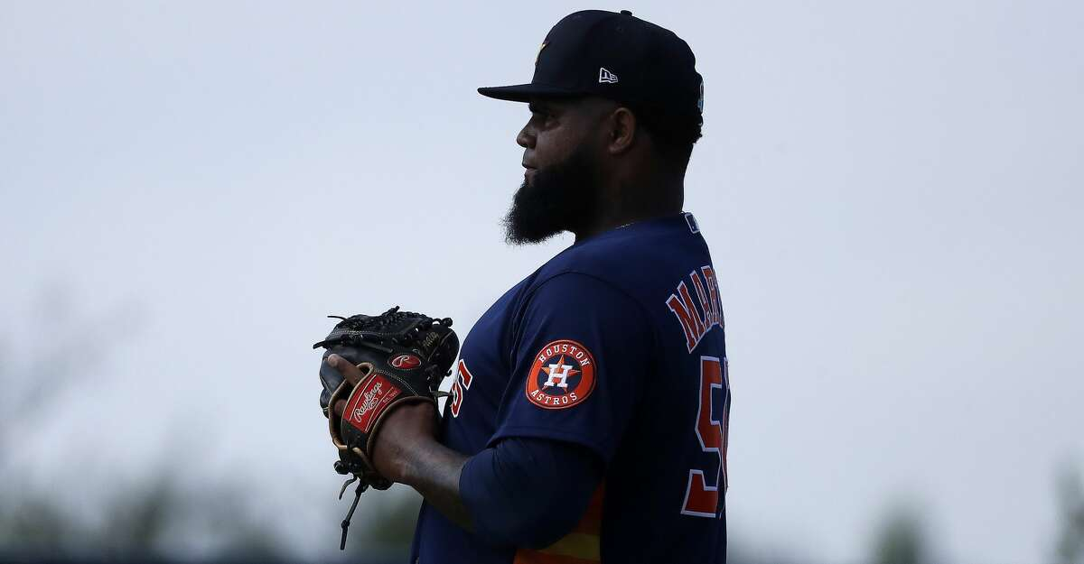 Houston Astros pitcher Francis Martes (50) throws a live BP session during spring training workouts for the Astros at Ballpark of the Palm Beaches in West Palm Beach, Florida, Thursday, February 25, 2021.