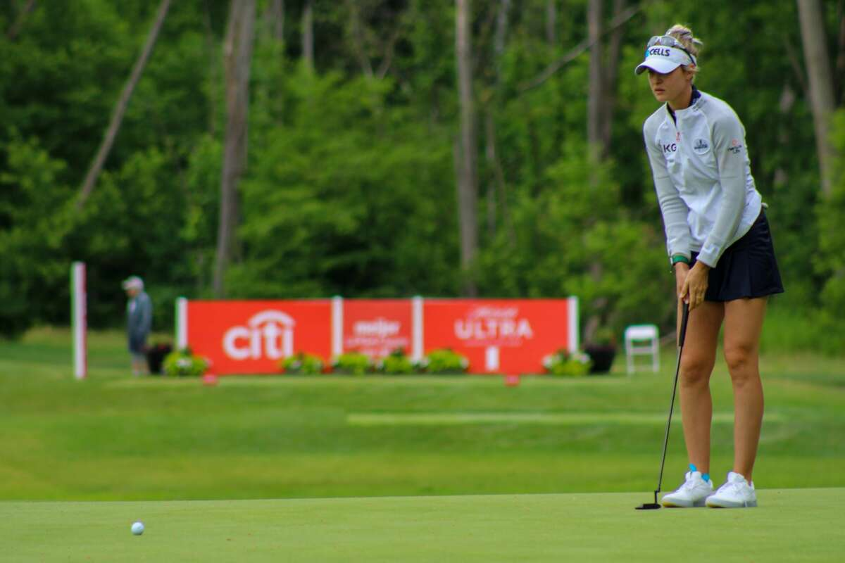 Nelly Korda reads a putt on No. 15 of the of the Meijer LPGA Classic on June 19 at Blythefield Country Club in Grand Rapids