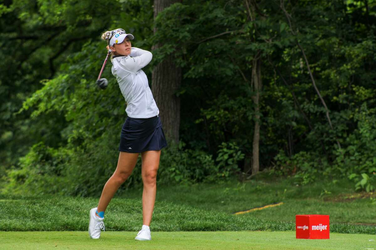 Nelly Korda follows through her tee shot on No. 16 of the Meijer LPGA Classic on June 19 at Blythefield Country Club in Grand Rapids