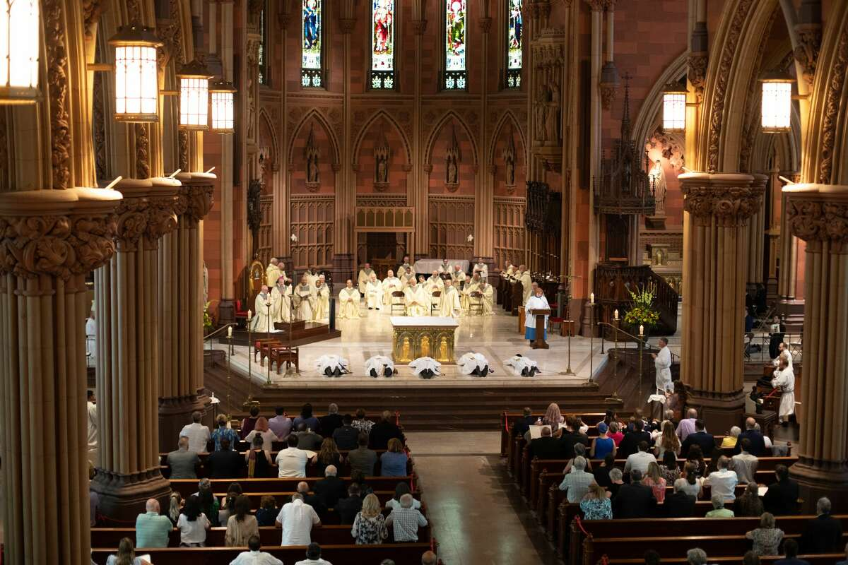 Bishop Edward Scharfenberger ordained five new priests into the Albany Roman Catholic Diocese on June 19 at the Cathedral of the Immaculate Conception in Albany.