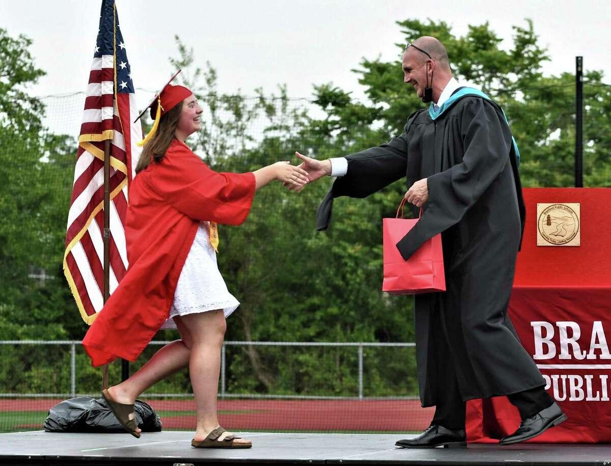 Graduation ceremonies at Branford High School on June 18, 2021.