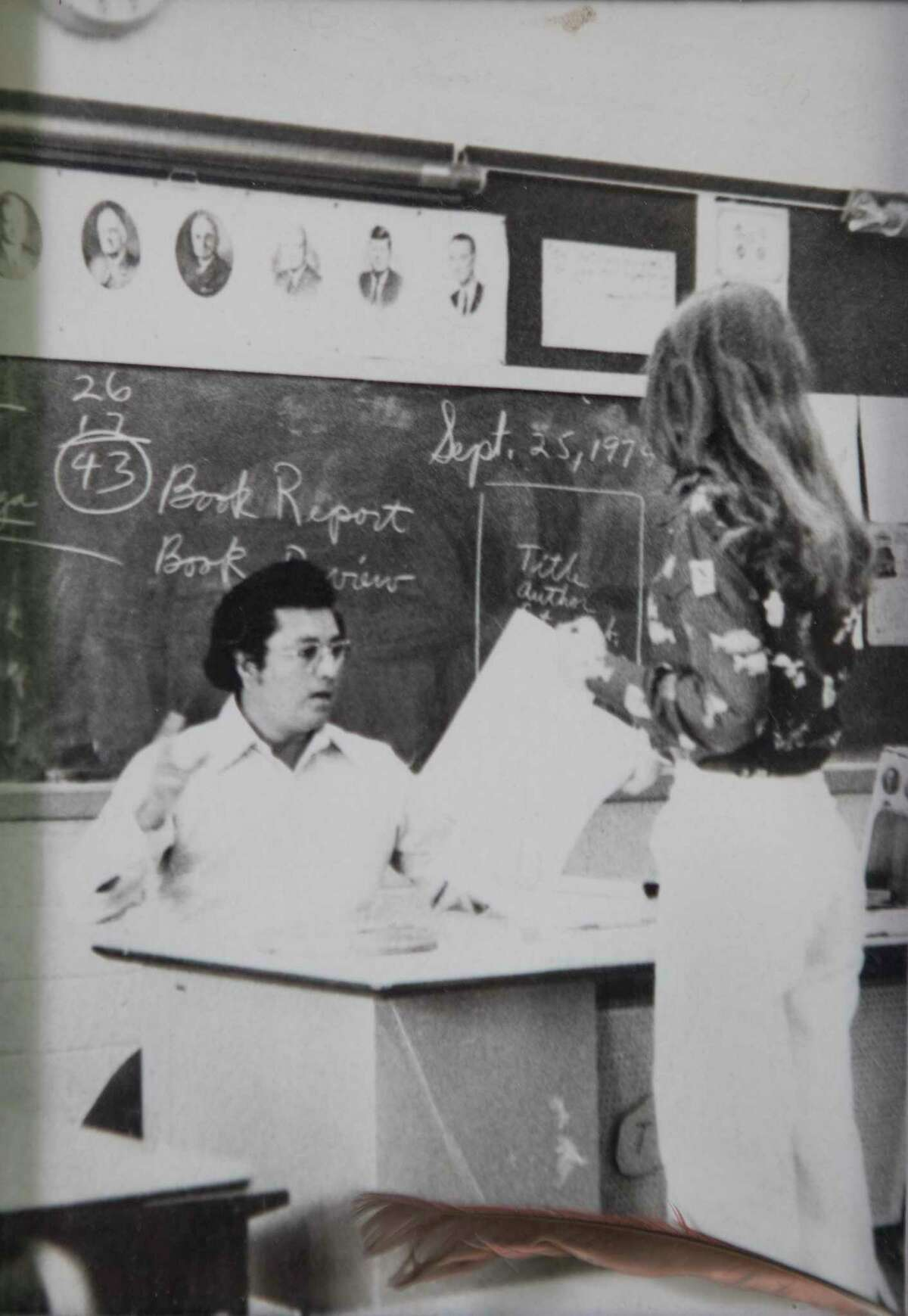 Sunny Astorga's father, Ysidro Astorga, Jr., is shown in a 1979 family photo while teaching at Dulles High School. Astorga, Jr., died in 2008 at age 68 of kidney and liver failure. Sunny is the youngest of five and was very close with her dad.