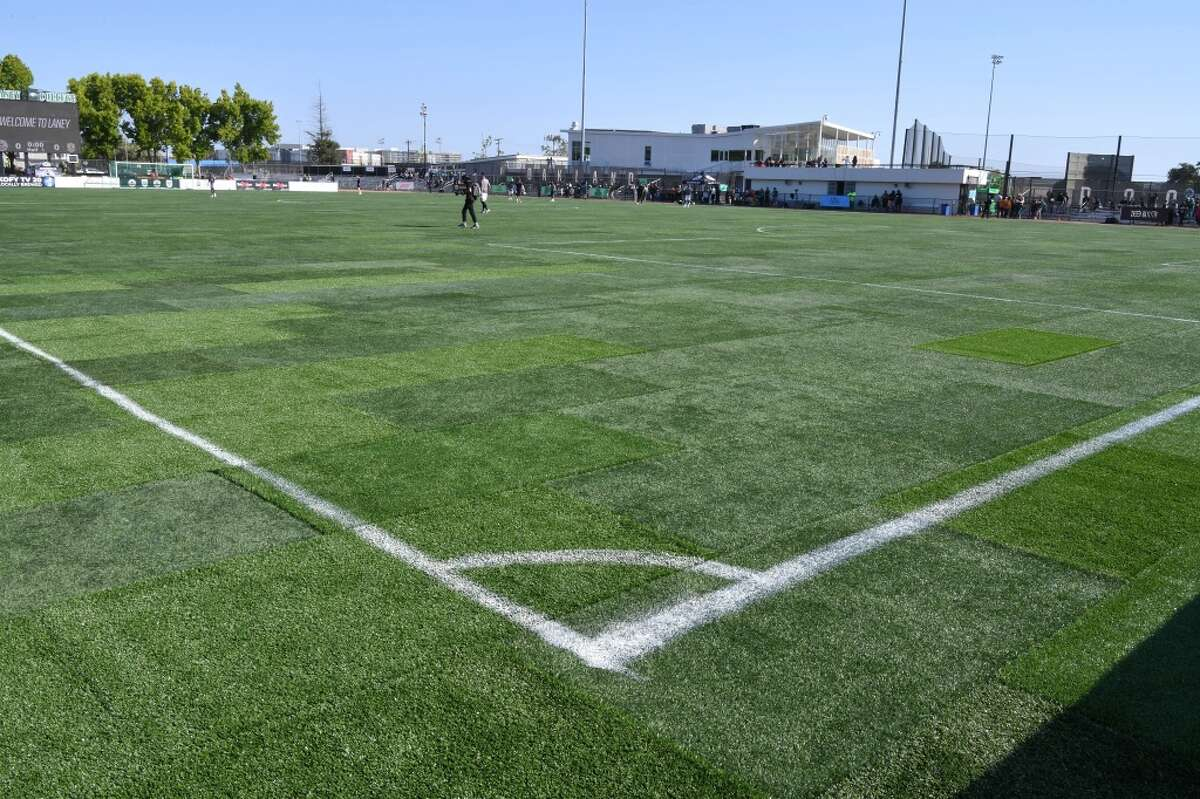 Poor field conditions prompted the cancellation of the game between Oakland Roots SC and Sacramento Republic FC at Laney College Football Stadium. (Robert Edwards-Robert Edwards Media)