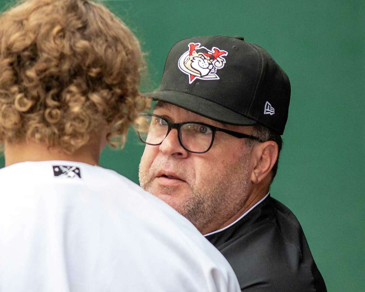 Tri-City ValleyCats manager Pete Incaviglia talks to his catcher Daniel Angulo during a game against the Sussex County Miners at the Joseph L. Bruno Stadium on the Hudson Valley Community College campus in Troy, NY, on Saturday, June 19, 2021 (Jim Franco/Special to the Times Union)