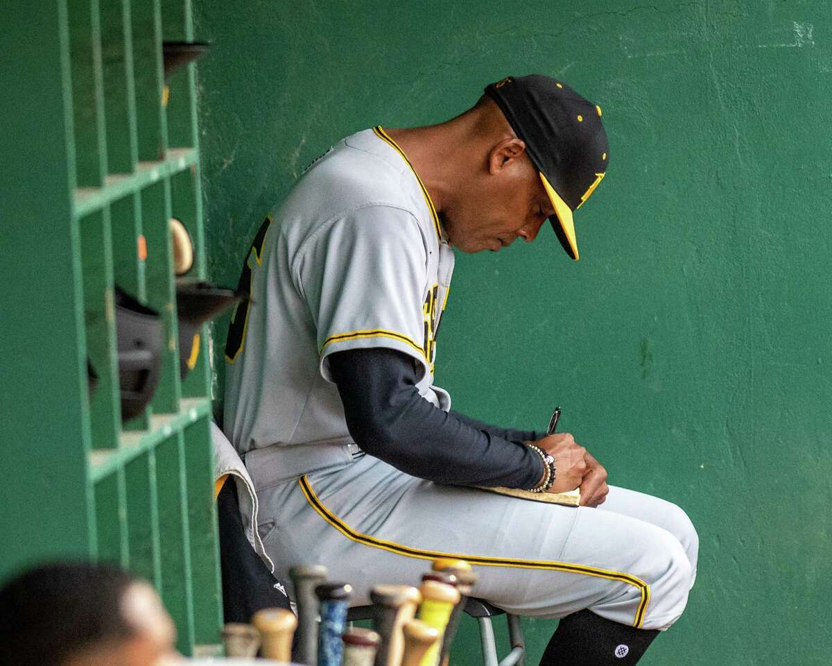 Sussex County Miners manager Bobby Jones takes notes during a game against the Tri-City ValleyCats at the Joseph L. Bruno Stadium on the Hudson Valley Community College campus in Troy, NY, on Saturday, June 19, 2021 (Jim Franco/Special to the Times Union)