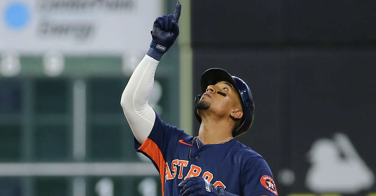 Houston Astros third baseman Robel Garcia (9) celebrates his double that clears a loaded base during the bottom third inning of the MLB game against the Chicago White Sox Saturday, June 19, 2021, at Minute Maid Park in Houston.