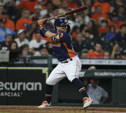 Houston Astros second baseman Jose Altuve (27) is at bat during the bottom fourth inning of the MLB game against the Chicago White Sox Saturday, June 19, 2021, at Minute Maid Park in Houston. Photo: Yi-Chin Lee/Staff Photographer / © 2021 Houston Chronicle