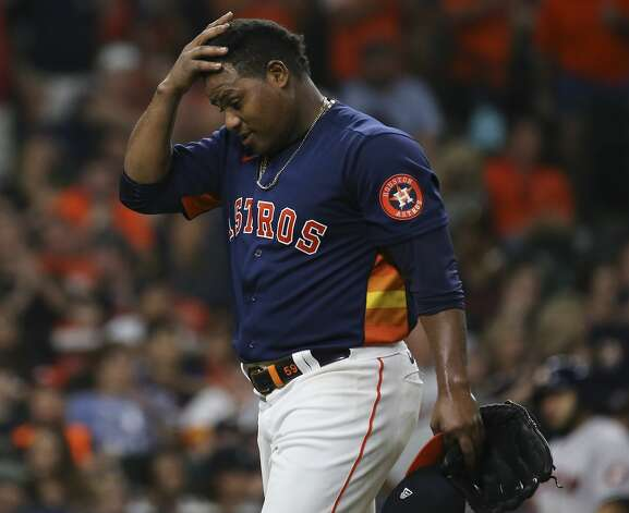 Houston Astros starting pitcher Framber Valdez (59) walks off the field after the top seventh inning of the MLB game against the Chicago White Sox Saturday, June 19, 2021, at Minute Maid Park in Houston. Photo: Yi-Chin Lee/Staff Photographer / © 2021 Houston Chronicle