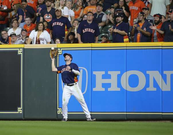 Houston Astros right fielder Chas McCormick (20) catches a fly ball during the top seventh inning of the MLB game against the Chicago White Sox Saturday, June 19, 2021, at Minute Maid Park in Houston. Photo: Yi-Chin Lee/Staff Photographer / © 2021 Houston Chronicle