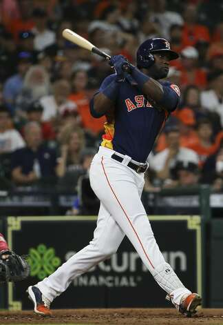 Houston Astros left fielder Yordan Alvarez (44) hits a single during the bottom third inning of the MLB game against the Chicago White Sox Saturday, June 19, 2021, at Minute Maid Park in Houston. Photo: Yi-Chin Lee/Staff Photographer / © 2021 Houston Chronicle