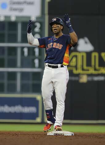 Houston Astros third baseman Robel Garcia (9) celebrates his double that clears a loaded base during the bottom third inning of the MLB game against the Chicago White Sox Saturday, June 19, 2021, at Minute Maid Park in Houston. Photo: Yi-Chin Lee/Staff Photographer / © 2021 Houston Chronicle