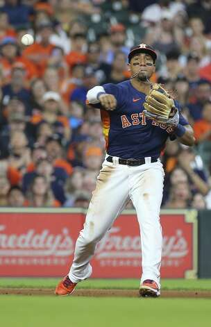 Houston Astros third baseman Robel Garcia (9) throws to first base to out Chicago White Sox left fielder Adam Engel (15) during the top fifth inning of the MLB game Saturday, June 19, 2021, at Minute Maid Park in Houston. Photo: Yi-Chin Lee/Staff Photographer / © 2021 Houston Chronicle