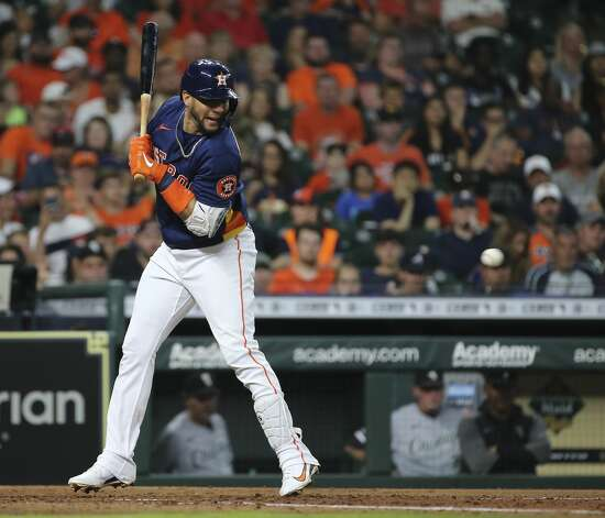 Houston Astros first baseman Yuli Gurriel (10) dodges a close pitch by Chicago White Sox relief pitcher Ryan Burr (61) during the bottom fourth inning of the MLB game aSaturday, June 19, 2021, at Minute Maid Park in Houston. Photo: Yi-Chin Lee/Staff Photographer / © 2021 Houston Chronicle