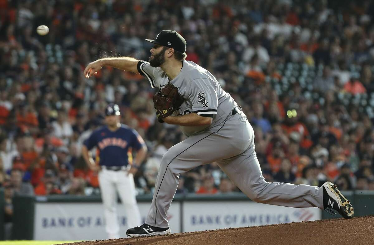 Chicago White Sox starting pitcher Lance Lynn (33) pitches during the bottom first inning of the MLB game against the Houston Astros Saturday, June 19, 2021, at Minute Maid Park in Houston.