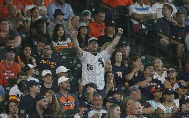 A Chicago White Sox fan cheers for the team during the bottom second inning of the MLB game against the Houston Astros Saturday, June 19, 2021, at Minute Maid Park in Houston. Photo: Yi-Chin Lee/Staff Photographer / © 2021 Houston Chronicle
