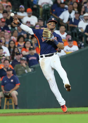 Houston Astros third baseman Robel Garcia (9) throws to first base during the top eighth inning of the MLB game against the Chicago White Sox Saturday, June 19, 2021, at Minute Maid Park in Houston. Photo: Yi-Chin Lee/Staff Photographer / © 2021 Houston Chronicle