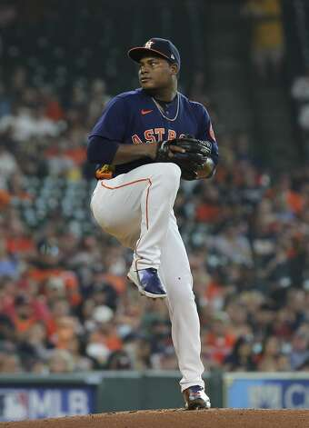 Houston Astros starting pitcher Framber Valdez (59) pitches during the top first inning of the MLB game against the Chicago White Sox Saturday, June 19, 2021, at Minute Maid Park in Houston. Photo: Yi-Chin Lee/Staff Photographer / © 2021 Houston Chronicle
