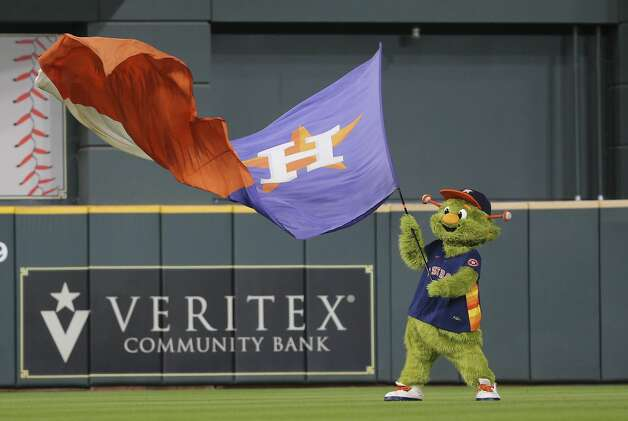 Houston Astros mascot Orbit celebrates the team's 7-3 win over Chicago White Sox in a MLB game Saturday, June 19, 2021, at Minute Maid Park in Houston. Photo: Yi-Chin Lee/Staff Photographer / © 2021 Houston Chronicle