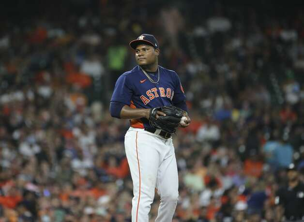 Houston Astros starting pitcher Framber Valdez (59) pitches during the top sixth inning of the MLB game against the Chicago White Sox Saturday, June 19, 2021, at Minute Maid Park in Houston. Photo: Yi-Chin Lee/Staff Photographer / © 2021 Houston Chronicle