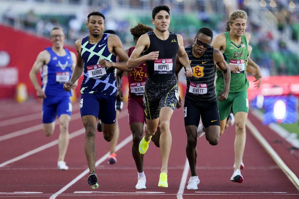 Bryce Hoppel wins the second heat in the semifinals of the men's 800-meter run at the U.S. Olympic Track and Field Trials Saturday, June 19, 2021, in Eugene, Ore.(AP Photo/Ashley Landis)