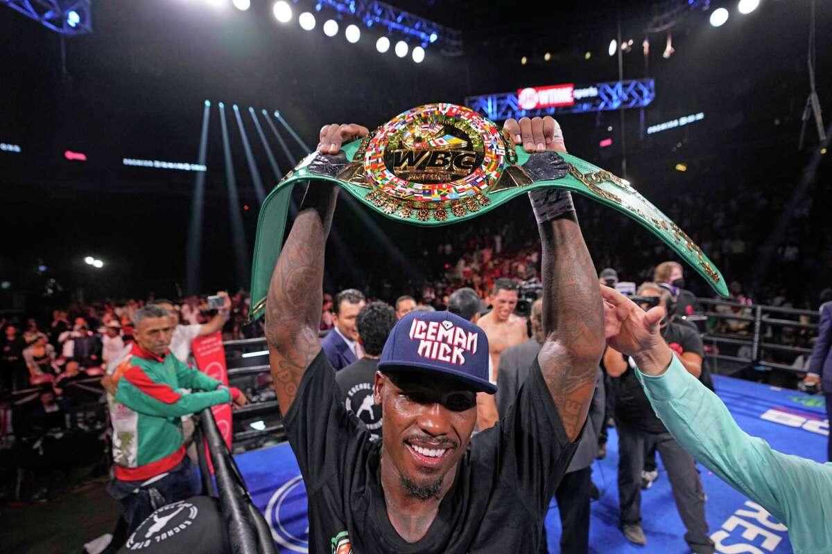 Jermall Charlo celebrates after beating Juan Macias Montiel in a WBC middleweight world championship boxing match Saturday, June 19, 2021, in Houston. (AP Photo/David J. Phillip)