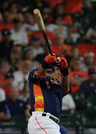 Houston Astros left fielder Michael Brantley (23) swings during the bottom first inning of the MLB game against the Chicago White Sox Saturday, June 19, 2021, at Minute Maid Park in Houston. Photo: Yi-Chin Lee/Staff Photographer / © 2021 Houston Chronicle