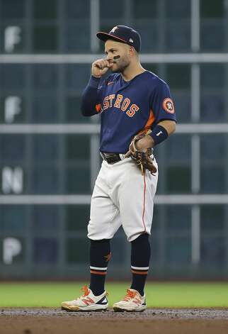 Houston Astros second baseman Jose Altuve (27) bites his nails during the top third inning of the MLB game against the Chicago White Sox Saturday, June 19, 2021, at Minute Maid Park in Houston. Photo: Yi-Chin Lee/Staff Photographer / © 2021 Houston Chronicle