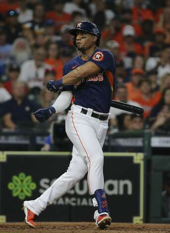 Houston Astros second baseman Robel Garcia (9) spins a 360 while swinging in first inning of the MLB game against the Chicago White Sox Saturday, June 19, 2021, at Minute Maid Park in Houston. Photo: Yi-Chin Lee/Staff Photographer / © 2021 Houston Chronicle